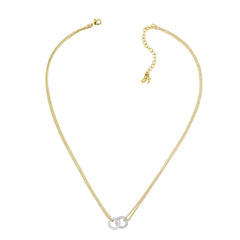 Interlocking Ring Necklace - Crystal/Gold/Rhodium Plated