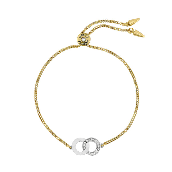Interlocking Ring Slide Bracelet - Crystal/Gold/Rhodium Plated
