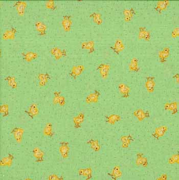 Spring Chicks for Henley Studios by Makower UK, 1/2 yard