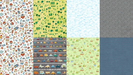 Around Town SKY by Gourmet Quilter for Hoffman, 2-yard PANEL