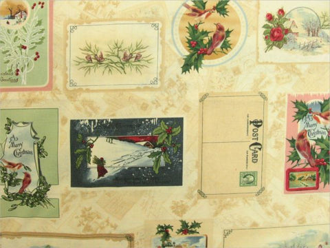Old Fashioned Christmas Postcard Fabric by South Seas Import, 1/2 yd