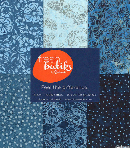 Fat Quarter Bundle of 6 Clothworks Fresh Batik Botanical