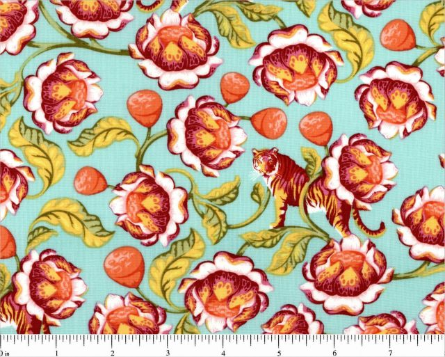 Lotus in Tomato, Eden by Tula Pink for Free Spirit, 1/2 yd