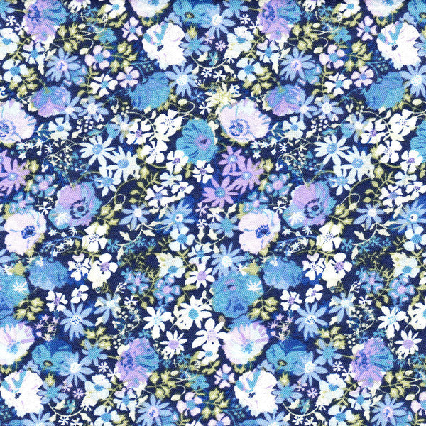 Henley Flowers Dark Blue by Henley Studios for Makower UK, 1/2 yd