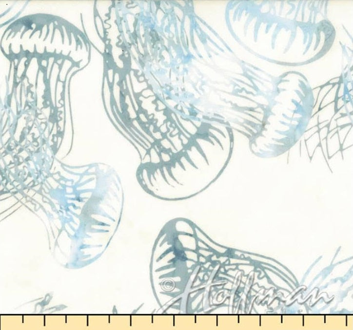 From the Depths JELLYFISH- Q2168-581 BLUEGRASS Hoffman Fabric 1/2 yd