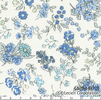 Memoire A Paris in Blue Floral from Lecien Fabrics, 1/2 yd