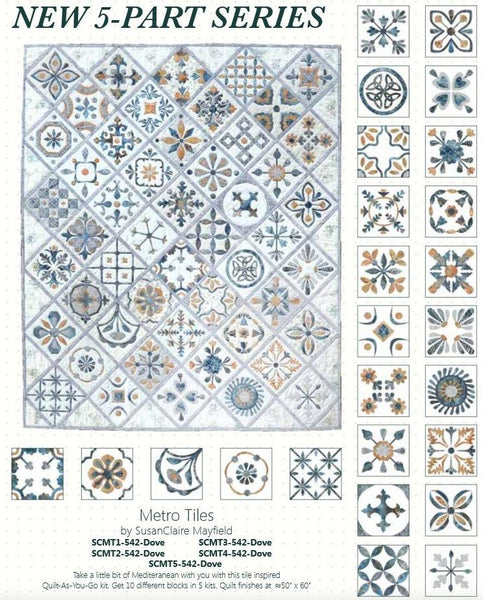 Metro Tiles COMPLETE SET - Quilt-As-You-Go - All 5 Kits