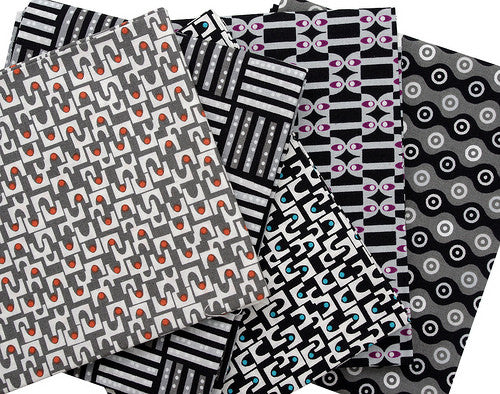 ORGANIC MicroMod Arches in Black by Rob Bancroft for Cloud 9 Fabrics, 1/2 yd