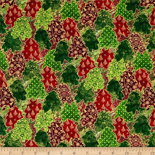 Christmas Fabric - Marblehead Metallics STACKED TREES by Ro Gregg, 1/2 yd