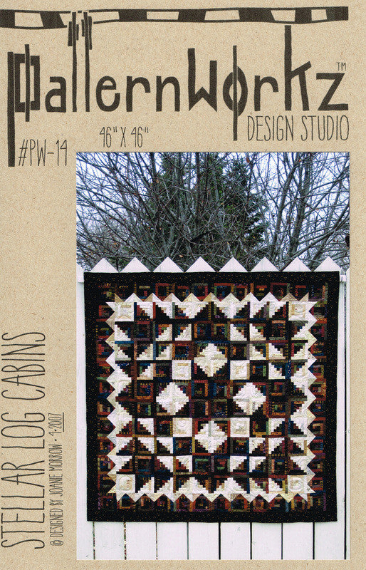 "PatternWorkz PW-14 STELLAR LOG CABINS quilt pattern 46""x46"""