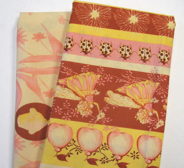 FAIRY TIP TOES Ribbon Fare in Yellow TG-62 by Tina Givens for Free Spirit, 1/2 yd