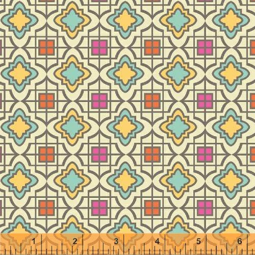 Cabana Bloom TILES- Iza Pearl Designs for WIndham Fabrics, 1/2 yd