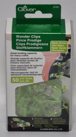 Clover 50-Piece Wonder Clips, Neon Green