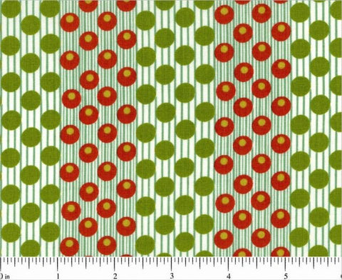Dilly Dally 5742-R in Red and Green by Kathy Hall for Andover, 1/2 yard