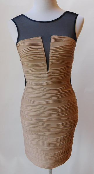 Tan Mesh Bandage Dress