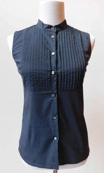 Pleated Sleeveless Button Down