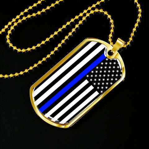 Thin Blue Line Commemorative Officer Down U.S Police Dog Tag b4cae08154d