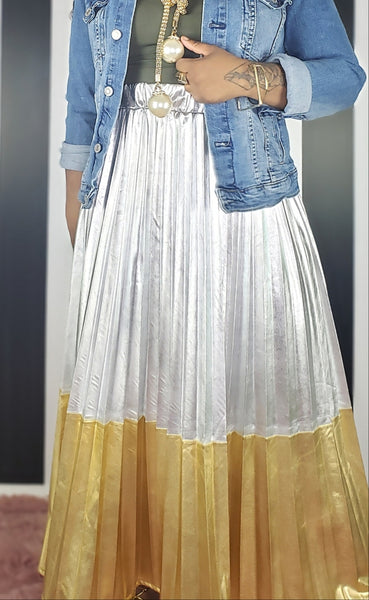 TREASURE CHEST - Metallic Pleated Skirt