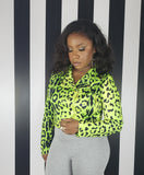 TECHNO - Neon Leopard Crop Jacket