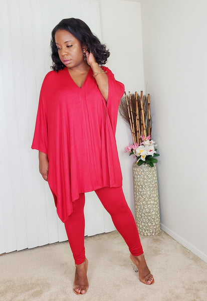 GOOD VIBE -  Cape Top Set (Red)
