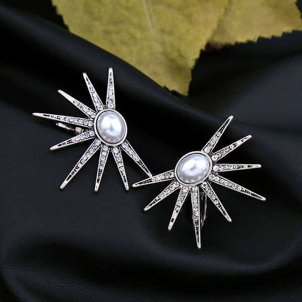 TESSLA - Silver Pearl Studded Sun Clip Earrings