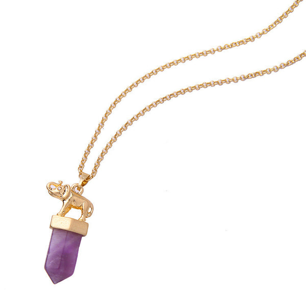 *TAJ-Purple Stone Pendant Chain Necklace