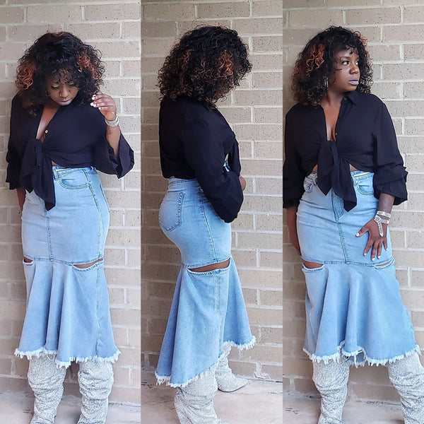 Peplum-Denim-Skirt