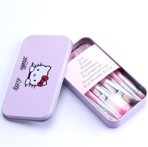 HELLO KITTY 7 pc Makeup Brush Kit w/ Tin Case