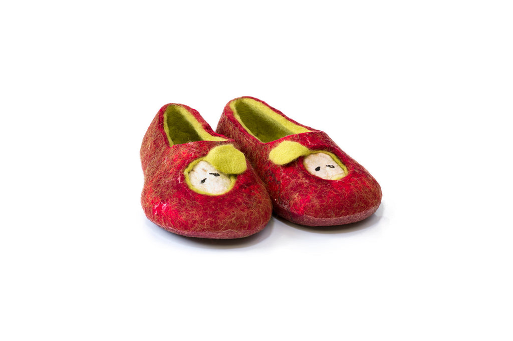 Felted woolen Bure Bure slippers with magical Christmas apples