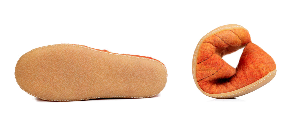 Thin crepe rubber soles on the bottom of the welted wool slippers