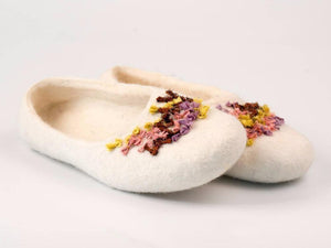 Felted BureBure slippers with hand stitched indian silk ribbons