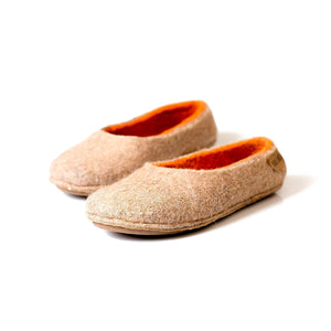 Beige/Orange Alpaca slippers