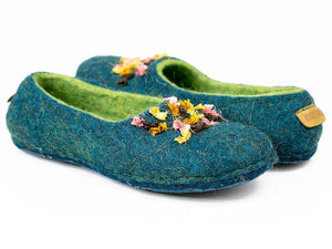 BureBute hand felted flat slippers with indian silk ribbons decoration