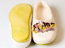 Load image into Gallery viewer, Felted BureBure slippers with hand stitched indian silk ribbons
