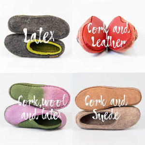 Different BureBure Slippers Soles options: a layer of latex, cork and leathr, cork, wool and latex, cork and suede.