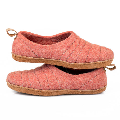 Burnt Orange COCOON slippers with pull loop