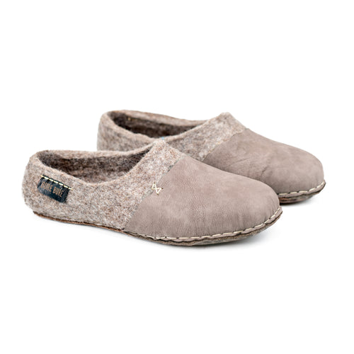 BureBure Felted Wool Women Clogs with Natural Edge Leather Handmade in Europe
