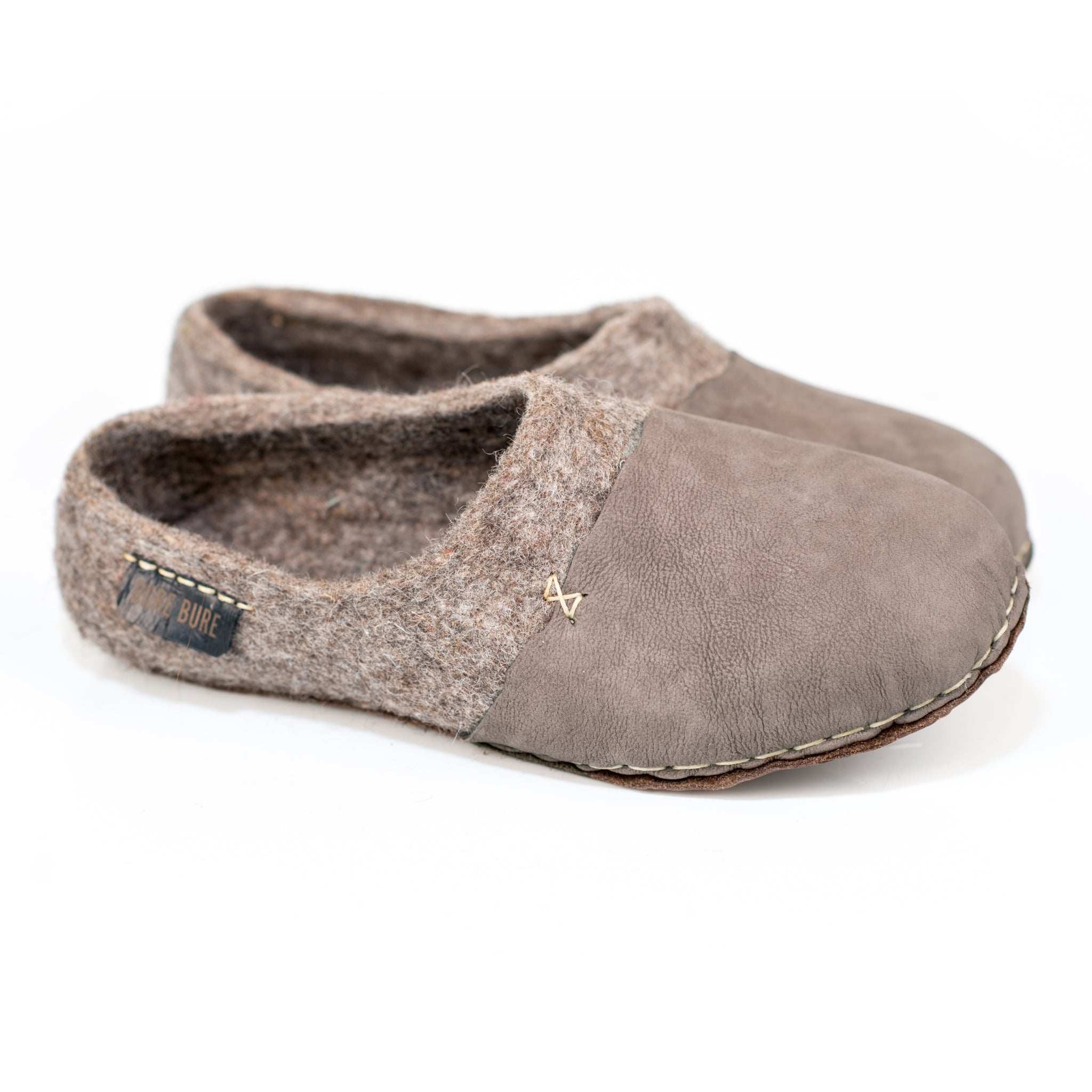 BureBure Women Wool Clogs with Natural Edge Leather Hand Felted in Europe