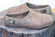Load image into Gallery viewer, BureBure Felted Wool Women Clogs with Natural Edge Leather Handmade in Europe