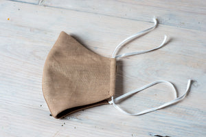 Linen face mask in beautiful personalized linen bag
