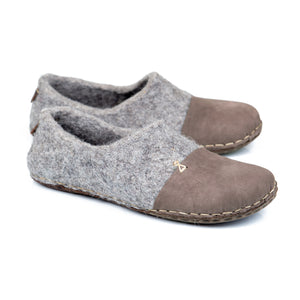 BureBure Felted Wool Men Clogs with Natural Edge Leather Handmade in Europe