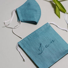 Load image into Gallery viewer, Linen face mask in beautiful personalized linen bag