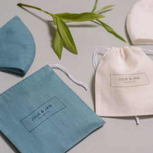 Set of 2 linen face mask in beautiful personalized linen bag