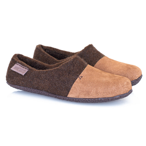 Mens Warm Home Shoes from Wool and Suede with hand-stitched toe caps