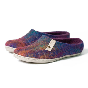 Easy slip on COCOON felted wool slippers Purple Rainbow