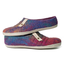 Load image into Gallery viewer, Easy slip on COCOON felted wool slippers Purple Rainbow