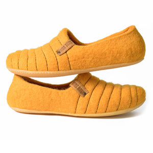 Sunflower Color Cocoon Felted Wool Clogs Style Slippers for Women