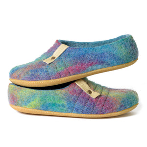 Easy slip on COCOON felted wool slippers Turquoise Rainbow
