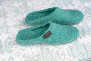 Backless Turquoise green Slippers for Women Handmade from sheep wool