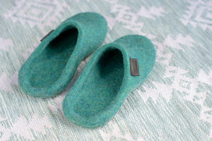 Felted Slide Slippers for Her with nonslippery latex soles